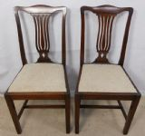 Pair Mahogany Dining Chairs with Freshly Upholstered Seats